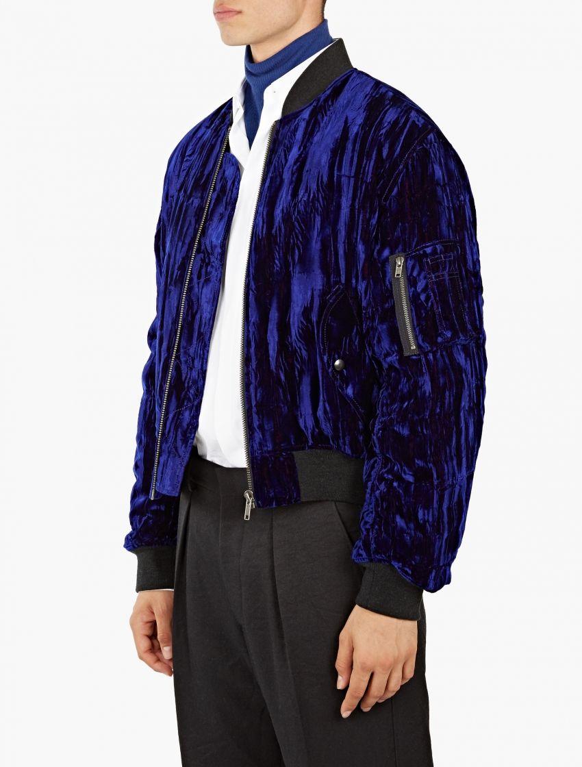 bf86209c5 Haider Ackermann,Blue Crushed Velvet Bomber Jacket,BLUE,1 | Styled ...