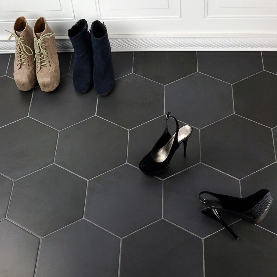 Image Result For Dark Gray Hexagon Tile Entryway Black Floor Tiles Entryway Tile Entryway Flooring