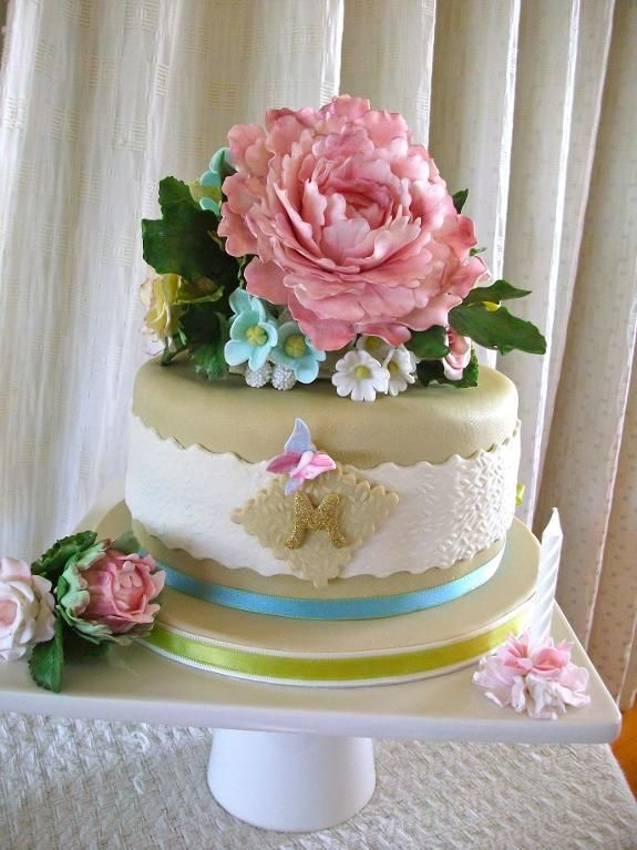 Sugar Flowers Birthday Cake Birthday Cake With Flowers Cake Cake Decorating