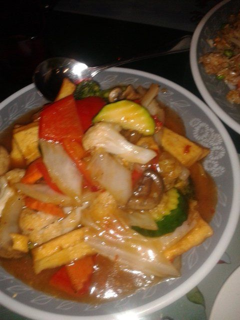 Tofu in szechuan sauce from Vegetarian Delight.  Yum!