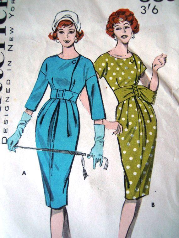 Vintage 1950s Butterick Sewing Pattern Rare 8895 Wiggle Dress B 34 ...