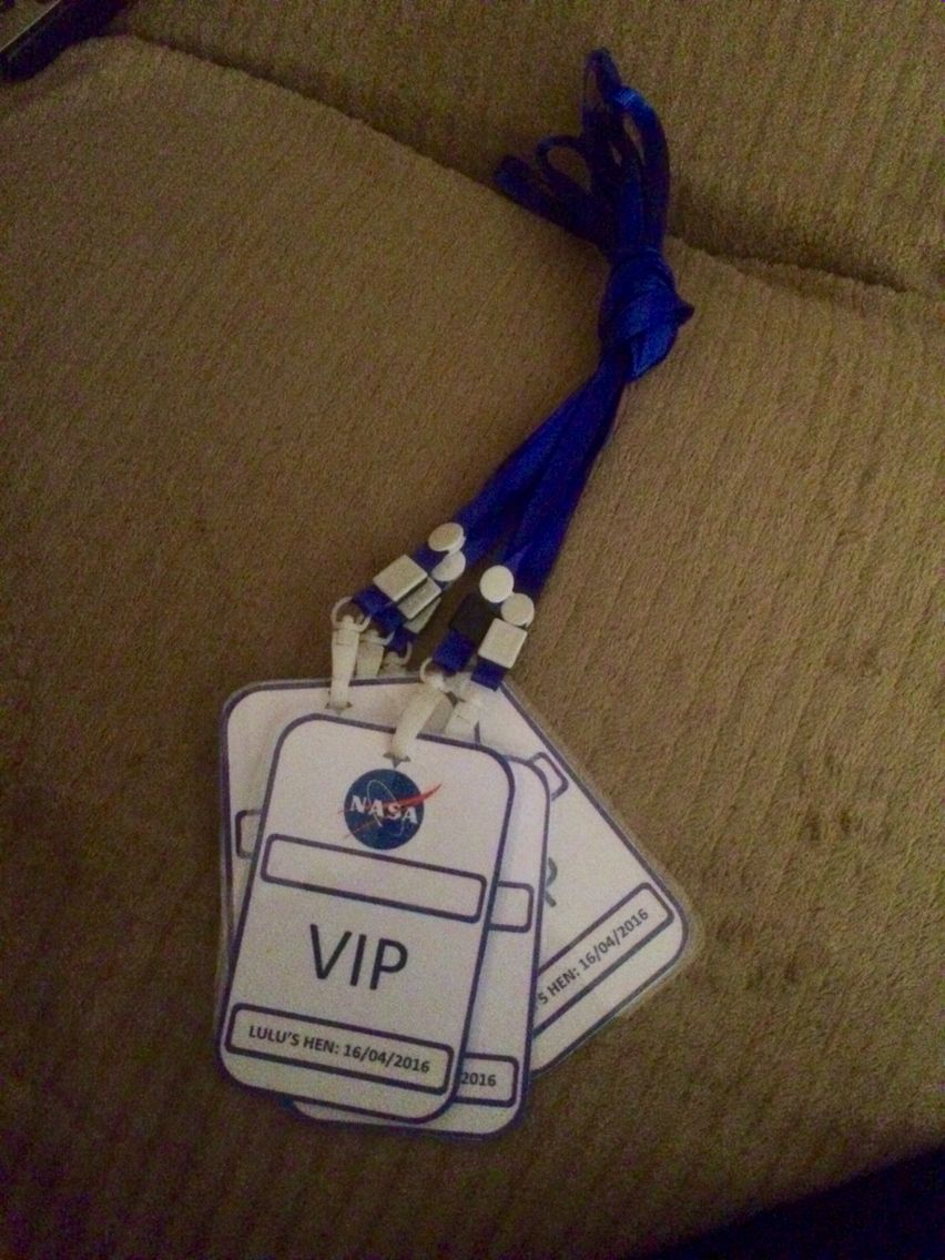 Nasa Vip Guest Pass Hen Party Name Badge Space Party