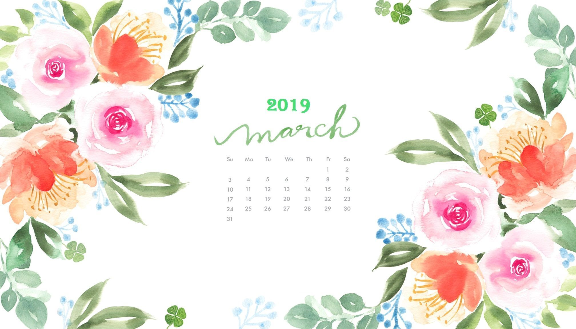 Floral March 2019 Desktop Calendar March2019