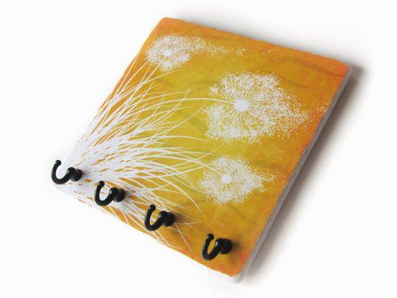 Orange Yellow Dandelion Wall Key Holder by NaturesHeavenlyArt ...