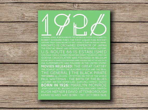Printable Birthday Facts ~ 1926 printable birthday personalised facts & trivia print