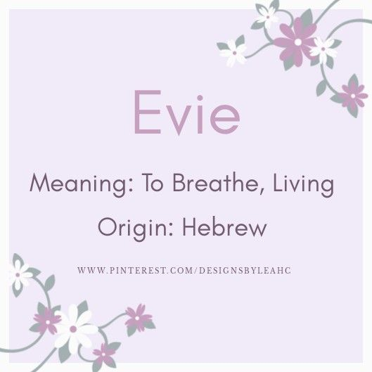 Baby Girl Name: Evie. | Meaning: To Breathe, Living ...