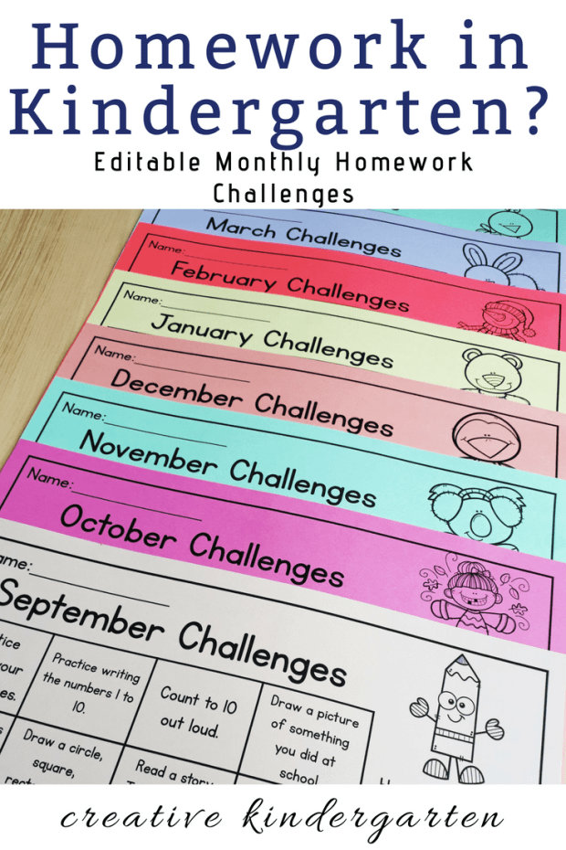 Photo of EDITABLE Monthly Homework Challenges for Kindergarten