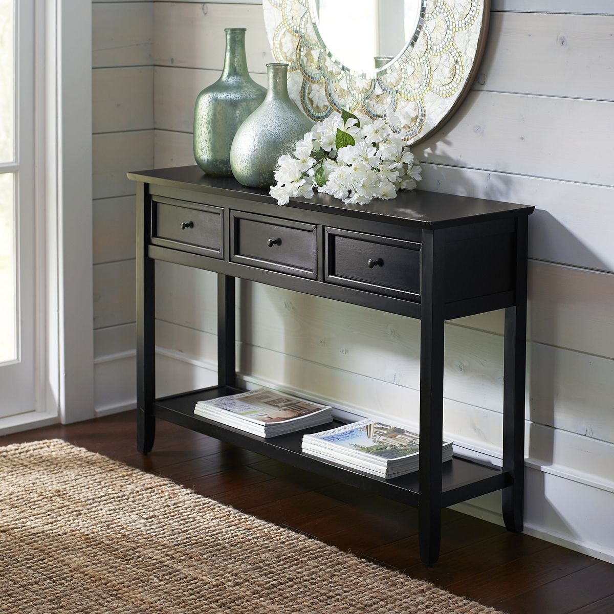 Pin By Caneil Mcdonald On Stylish Living Black Console Table Decor Black Console Table Console Table Decorating