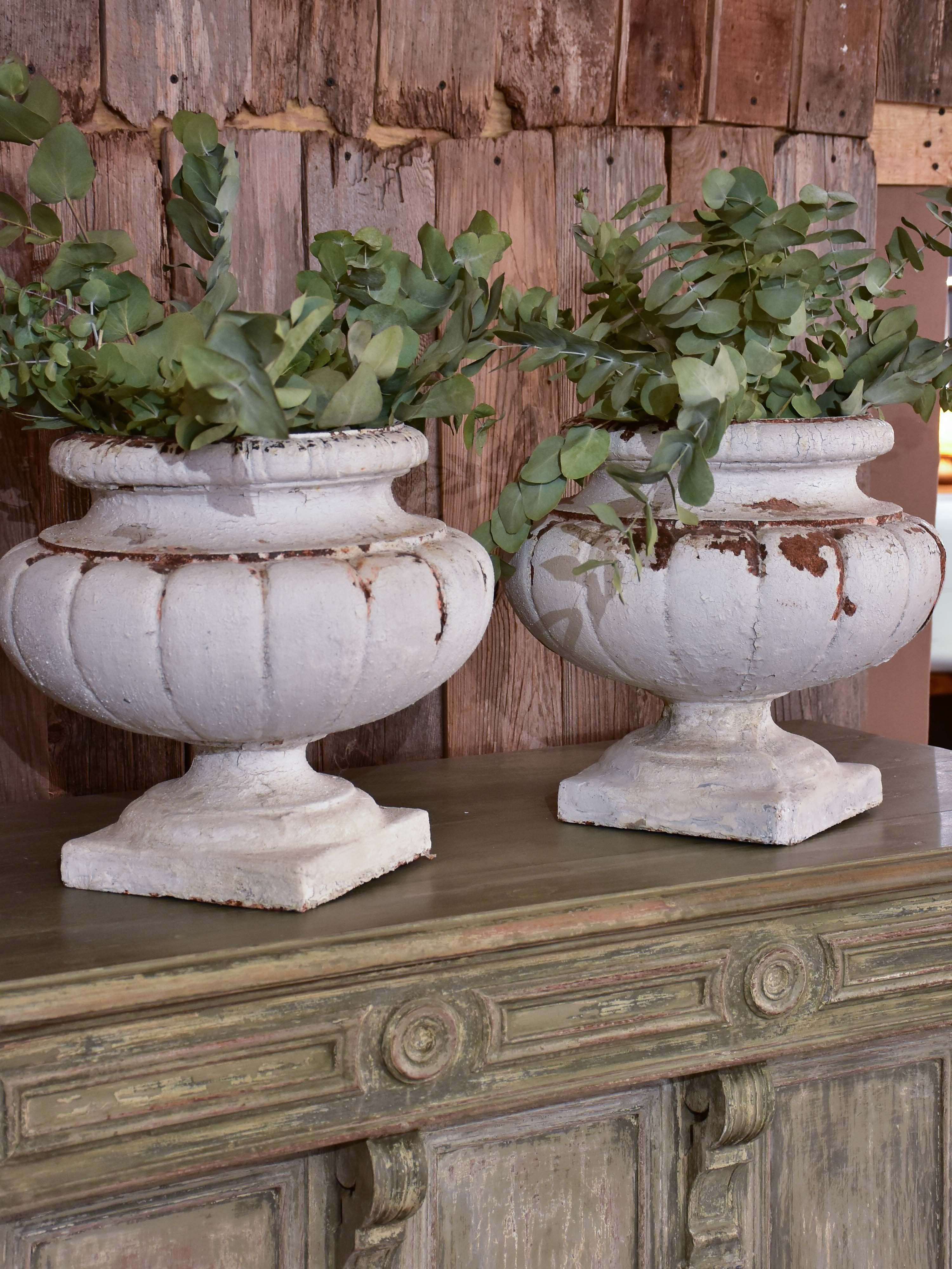 Two Vintage French Garden Urns With White Patina French Garden Urns Garden Urns French Garden
