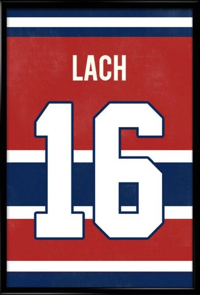 best loved ad528 73ef2 Elmer Lach Number 16 Montreal Canadiens Jersey Art Print ...