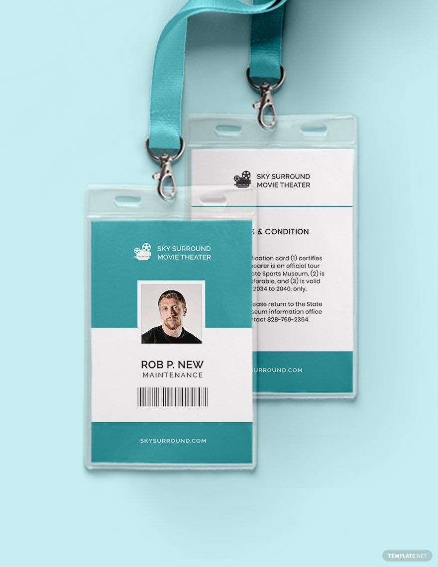 Movie Theater Id Card Template Word Doc Psd Apple Mac Pages Illustrator Publisher Id Card Template Cards Card Template
