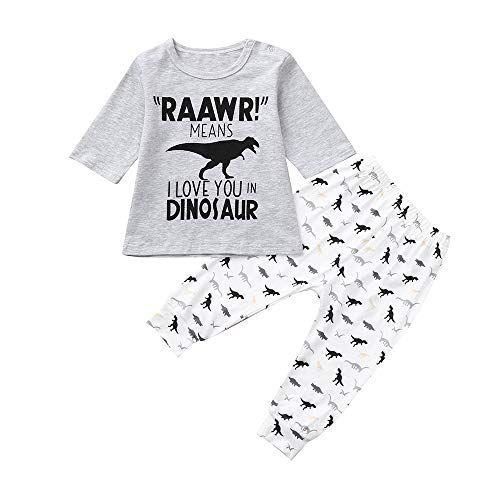 7c6c051e4f7e Yihaojia 2PCS Clothes Set Toddler Kids Baby Boy Letter Dinosaur Half ...