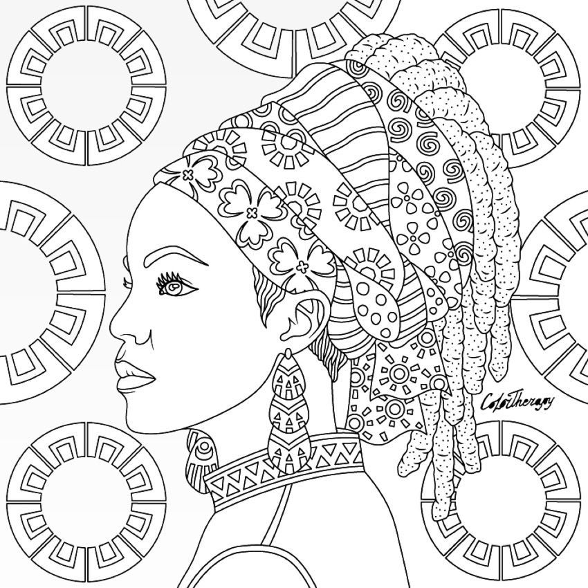 African Queen Adult Coloring Page Desenho Africano Coloracao