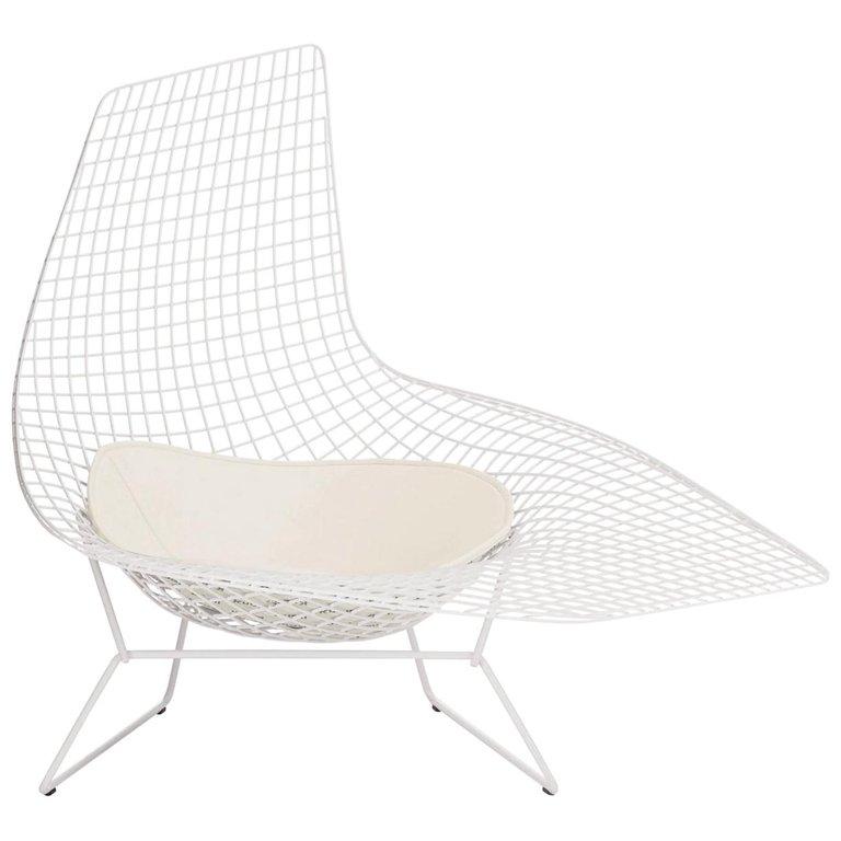 Vintage Knoll Assymetrical Lounge Chair Chaise Harry Bertoia White Pad 1952 Bloemenschilderijen