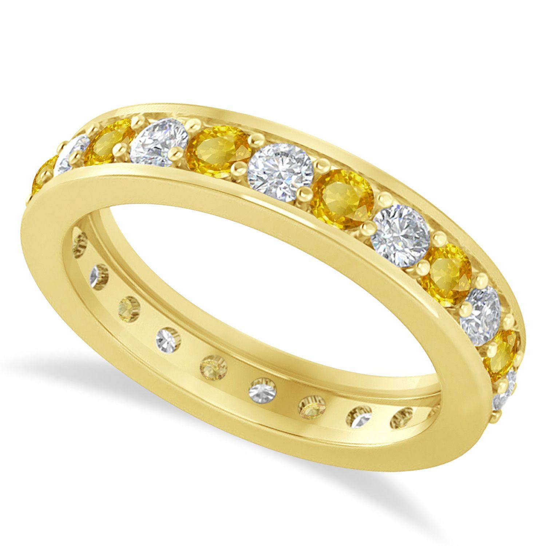 Diamond yellow sapphire eternity wedding band 14k yellow