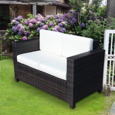 Outsunny Rattan 2 Seater Sofa Chair All Weather