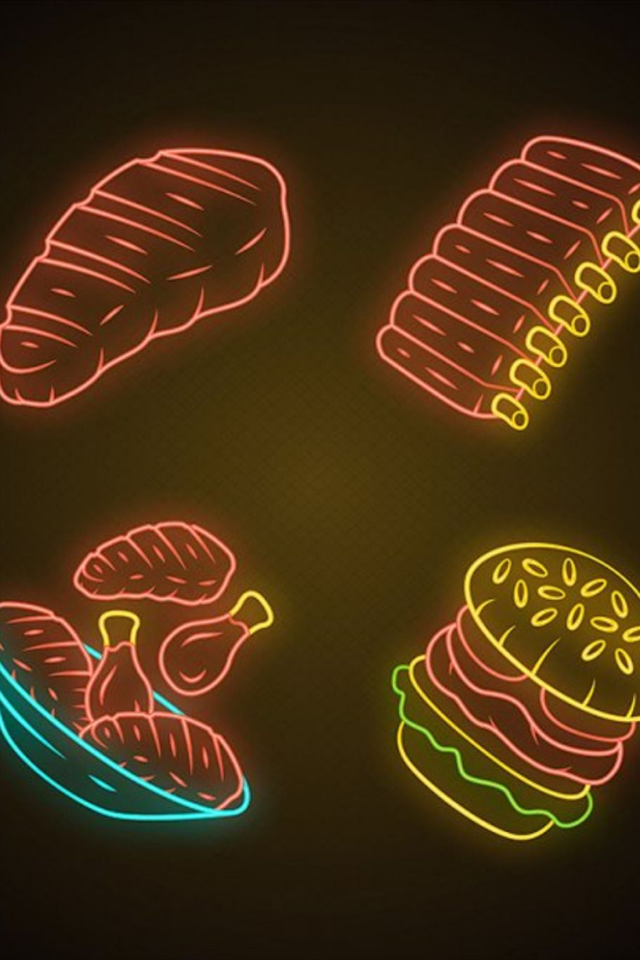 Meat dishes neon light icons set. Steak, beef ribs
