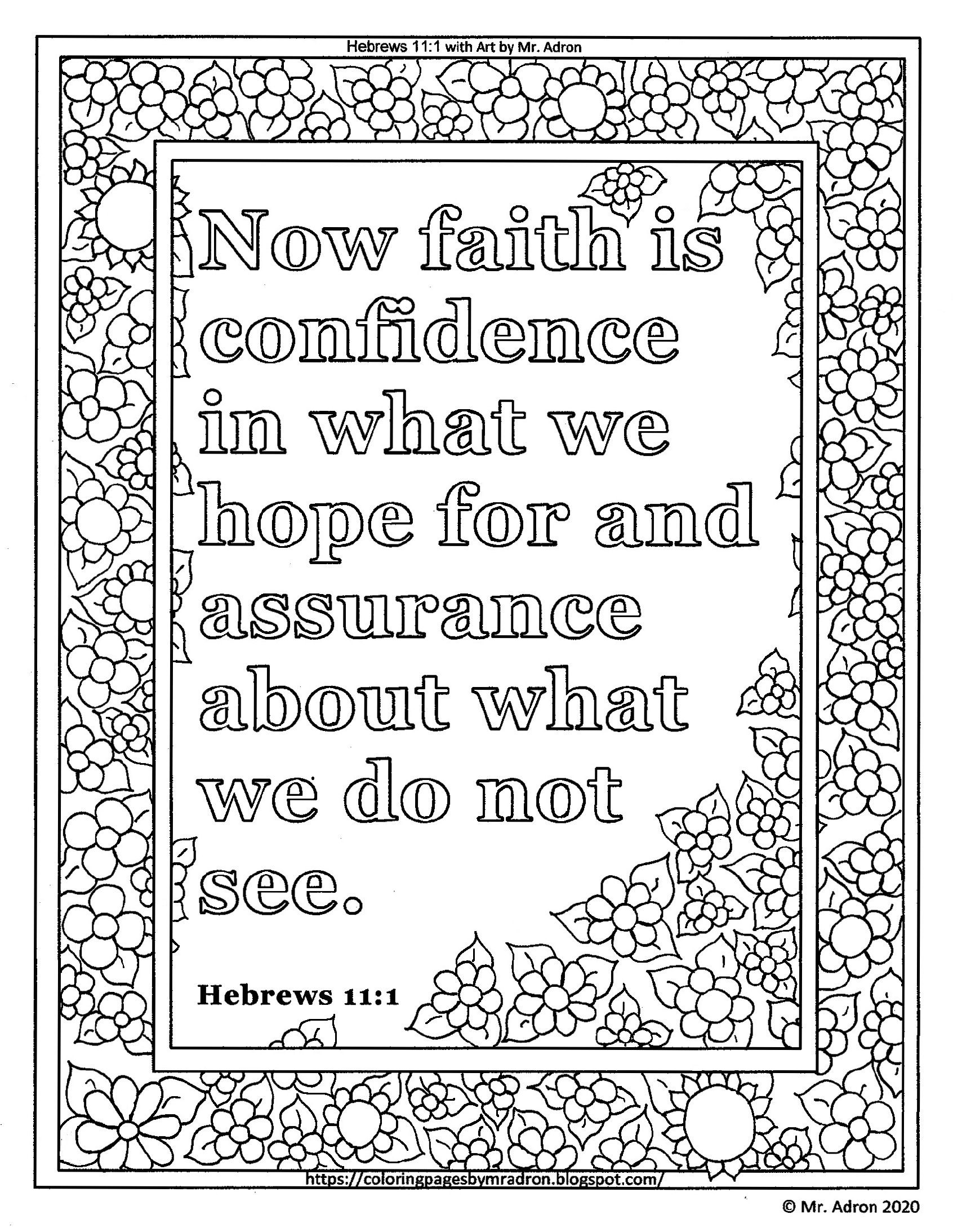 Free Printable Coloring Page Of Hebrews 11 1 It Helps You To