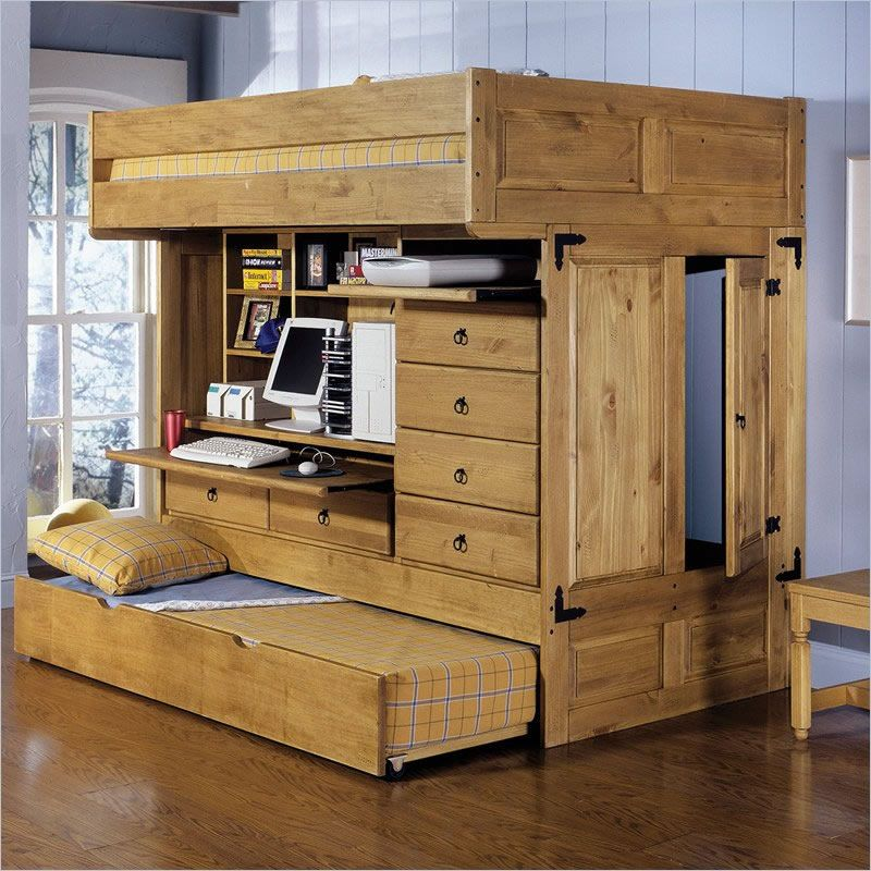 Loft Bed With Desk Powell Rustica All In One Full Loft