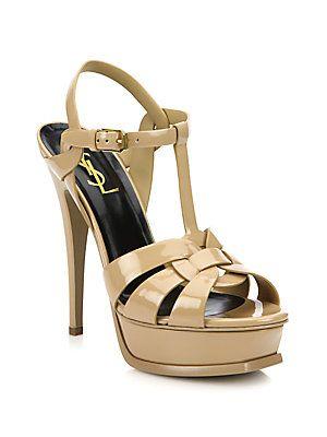 88f33b84e455 Saint Laurent Patent Leather Tribute Platform Sandals