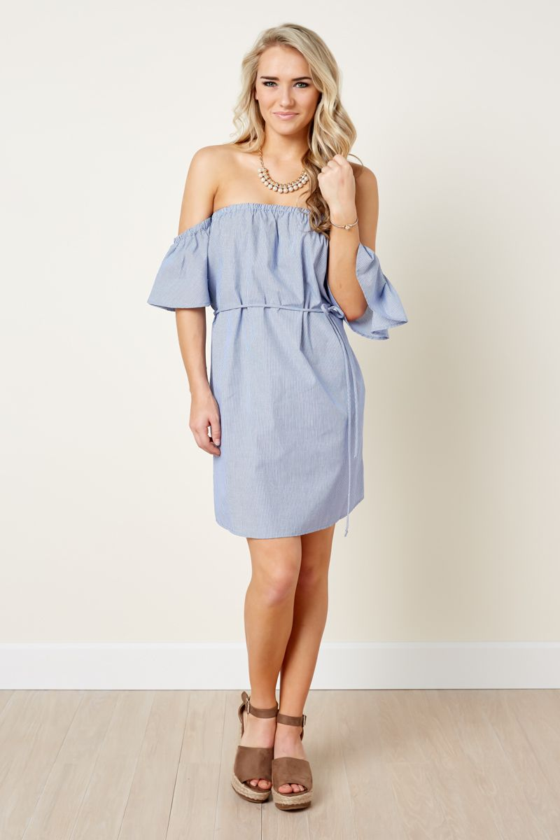e6b5e509a21f Give Me A Reason Light Blue Striped Off The Shoulder Dress by   Red Dress  Boutique