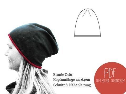 Beanie Oslo Mütze unisex Kopfumfänge 44-64cm Beanie Oslo Näht euch ...