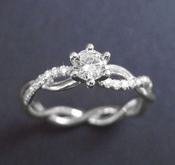 Infinity Knot Diamond Engagement Ring Infinity Engagement Ring