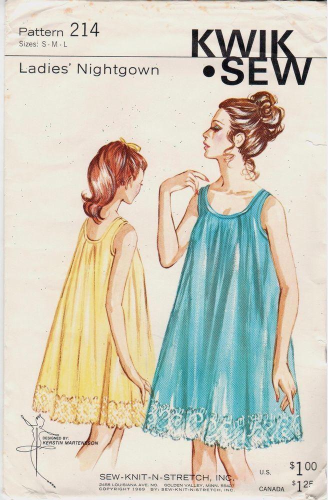 Retro uncut 1960s Kwik Sew #214 sexy nightgown pattern ...