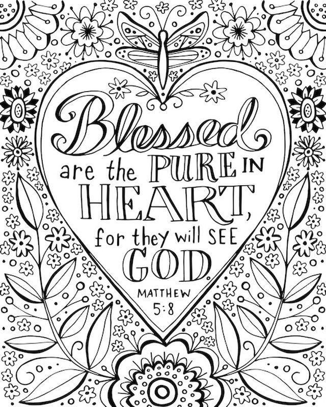 blessed are the pure in heart coloring canvas canvas on demand