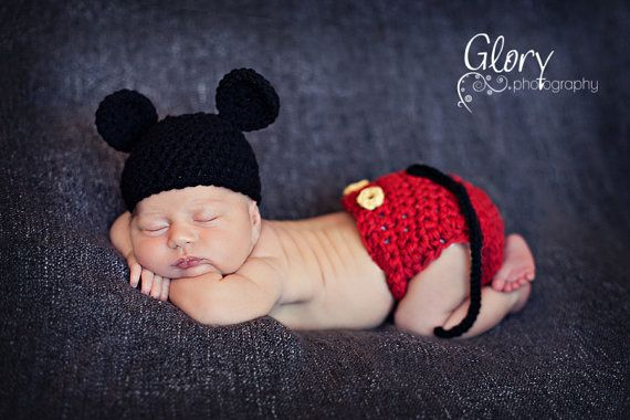 Baby boy Mickey Mouse Hat and Diaper cover by LandyKnits on Etsy ... f9e22b9334d