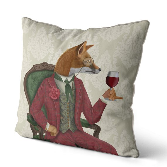 Fox Pillows Fox Decor Throw pillow cover - Fox wine taster - fox cushion Animal pillow woodland decor farmhouse decor living room decor