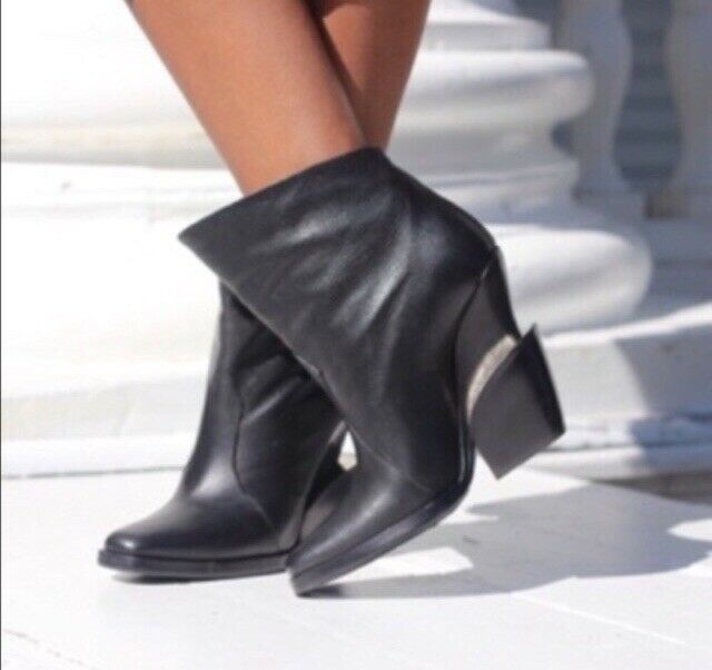71588e9474b Details about Womans Black Ankle Boots Theyskens Theory Leather Size ...