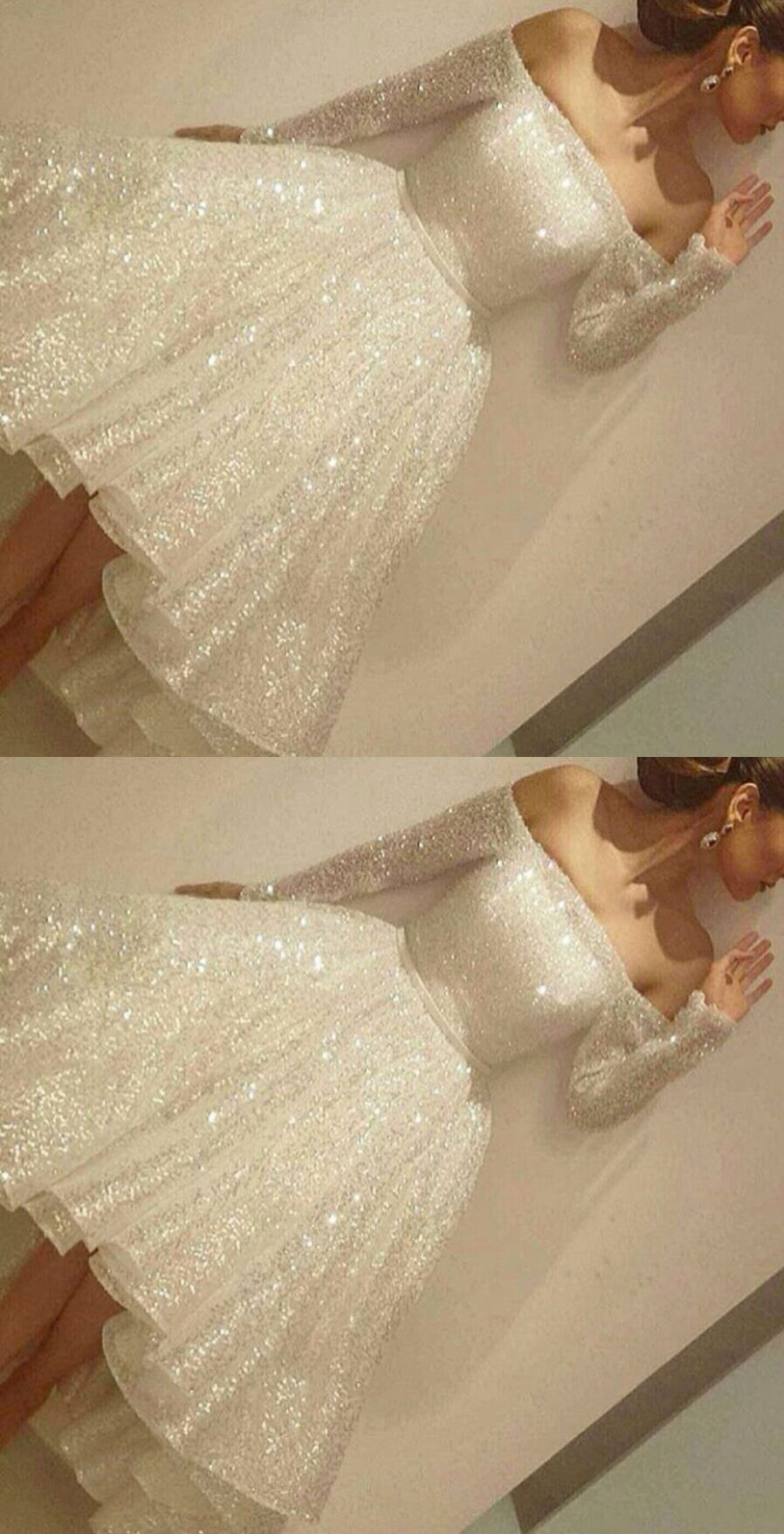 White sequined prom homecoming dress off shoulder long sleeves hi