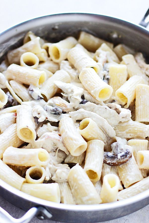 Creamy Fontina Rigatoni with Roasted Garlic, Portabellas and Pulled Chicken -