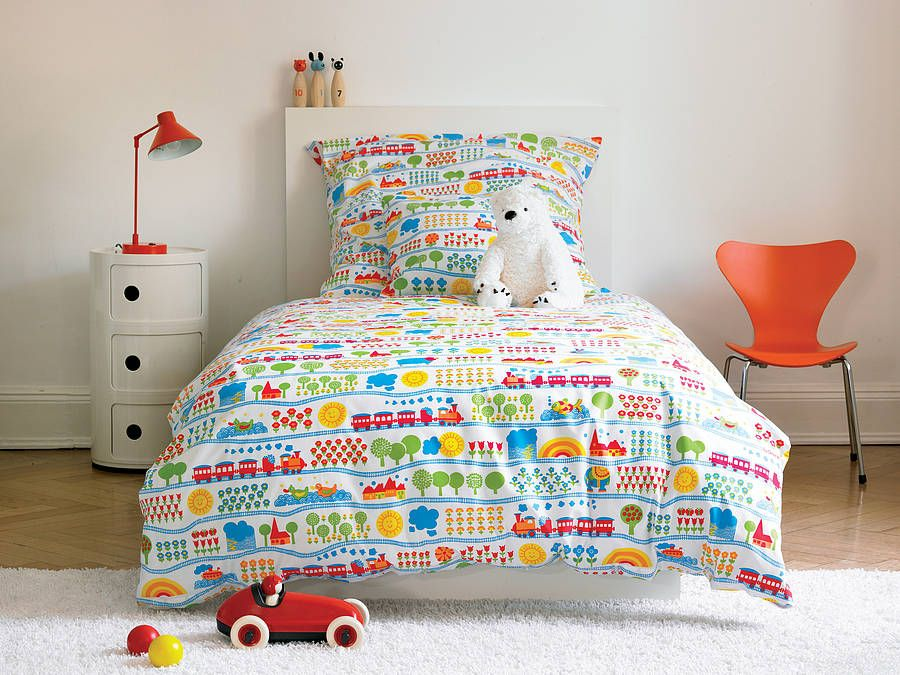 Child S Train Bed Linen Set By Rain Starts Play