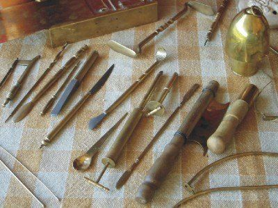 Modern reconstructions of ancient Roman medical instruments.