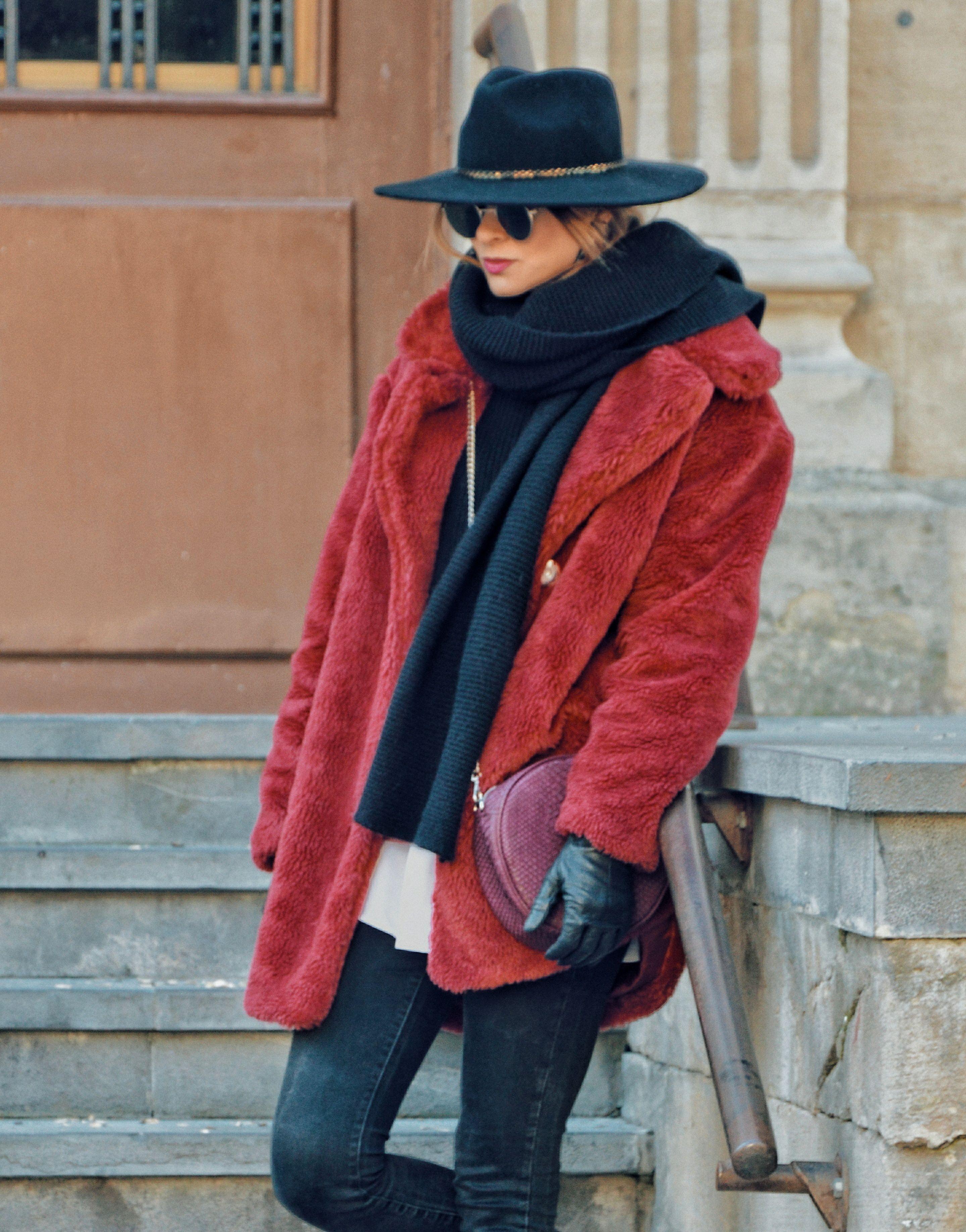 abrigopelo #look #invierno #abrigo #pelo #rojo #lookfortime