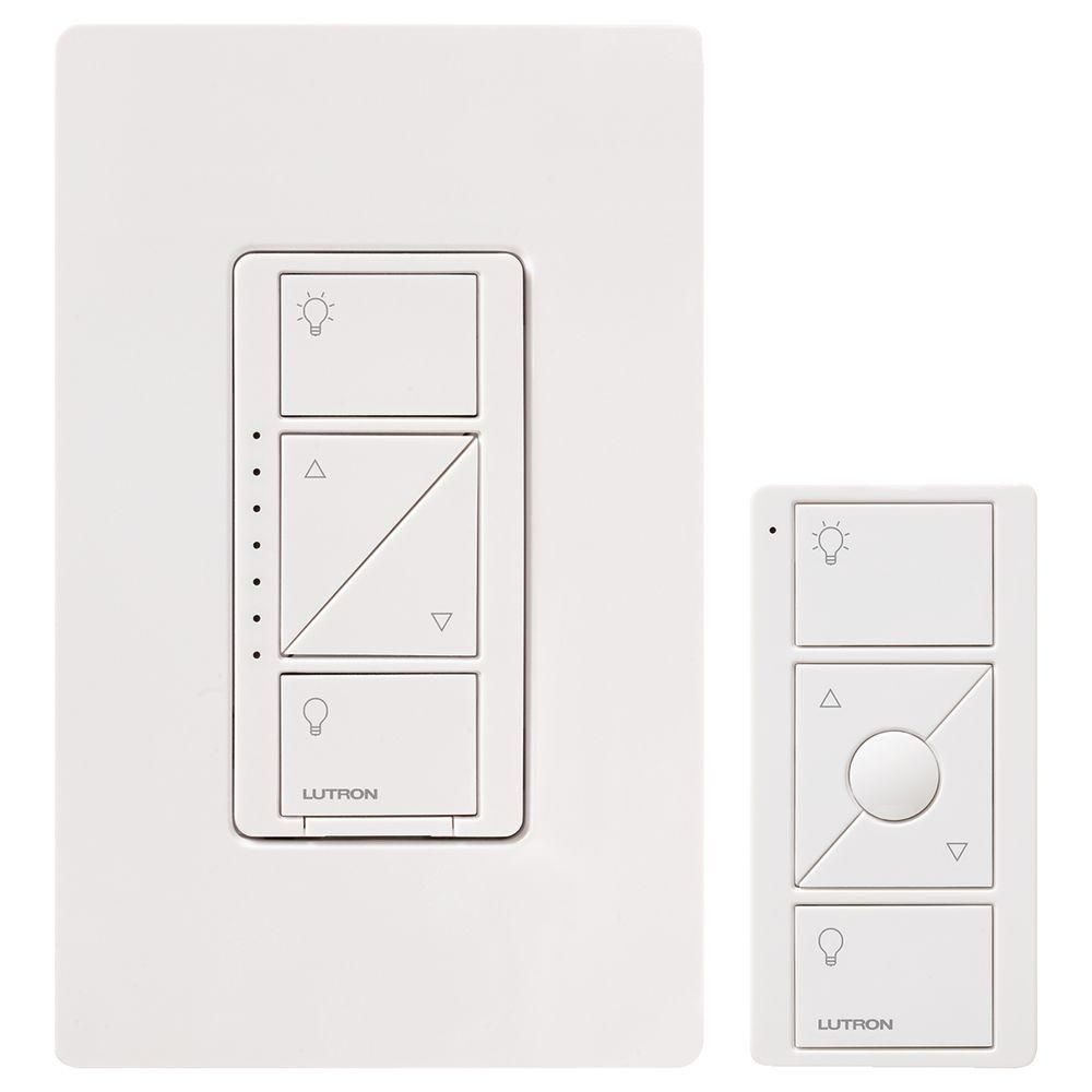 Lutron Caseta Wireless Smart Lighting Dimmer Switch And Remote Kit For Wall And Ceiling Lights White P Pkg1w Wh R The Home Depot In 2020 Light Dimmer Switch Lutron Smart Lighting