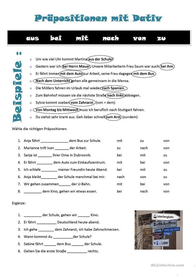 praepositionen mit dativ german deutsch deutsch lernen und pr positionen deutsch. Black Bedroom Furniture Sets. Home Design Ideas