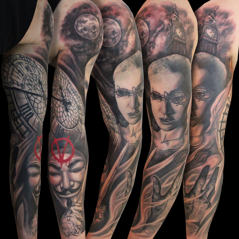 V For Vendetta V For Vendetta Tattoo Vendetta Tattoo Sleeve Tattoos