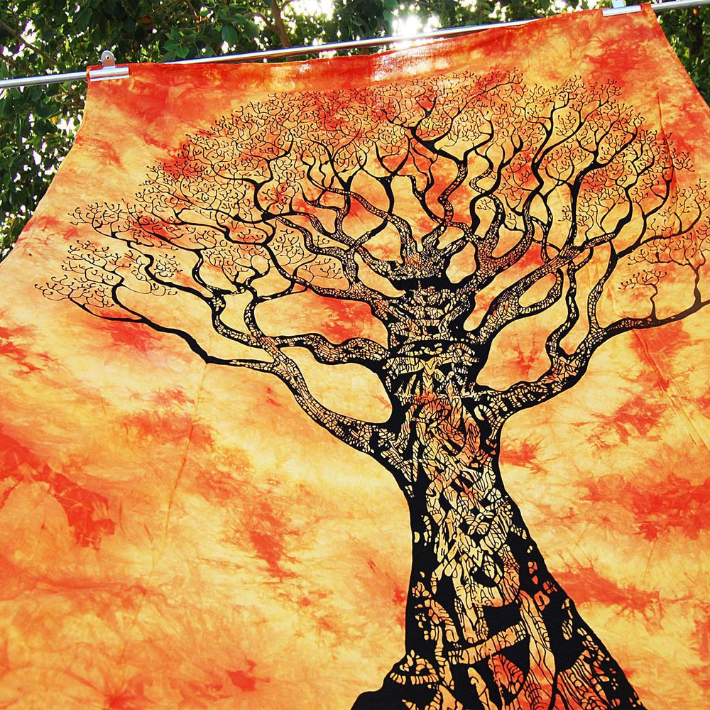 Native Purity Tree of Life orange Tapestries , Hippie Tapestries ...