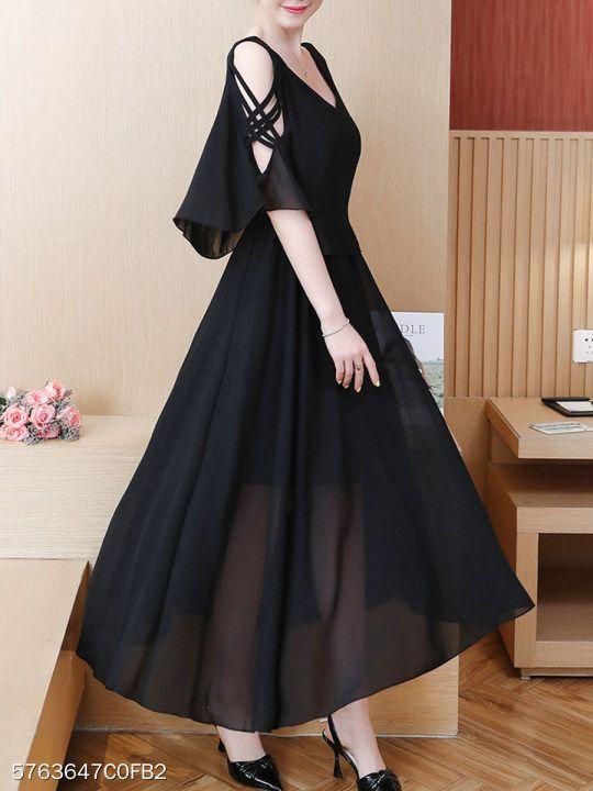 Round Neck Flounce Plain Maxi Dress  #area51partyoutfit