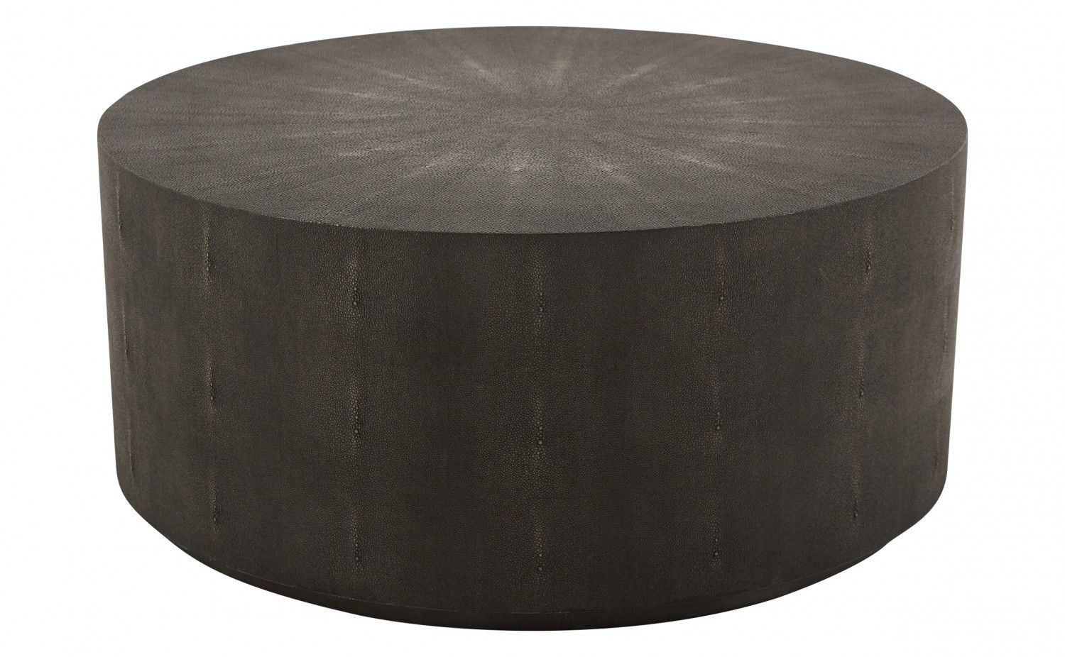 "Our Copeland Cocktail Table features a handsome faux shagreen finish. Square shagreen tiles are applied to the vertical surface of our Copeland, while the top is applied in a starburst pattern. At a height of only 16 inches, the intricate pattern can really be appreciated. We think our Copeland Cocktail Table would be perfectly juxtaposed with an angular sectional sofa.    •36"" diameter x 16""H  •charcoal faux shagreen  •charcoal wood base"