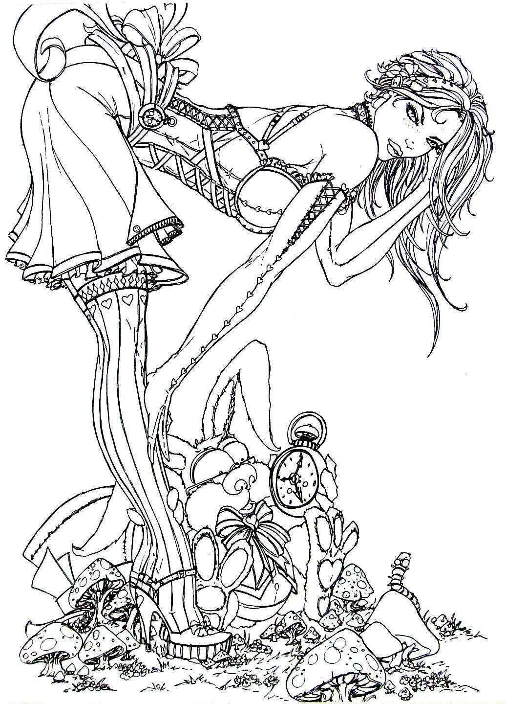 Sultry babe in sexy dress and stockings   Sultry Babe Coloring Book ...