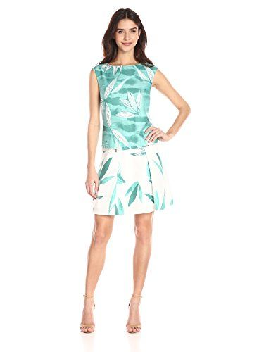 5b02b54bb9b57 Donna Morgan Women's Sleeveless Twill Dress with Zipper Pockets and Pleat  Front, Jade Multi,