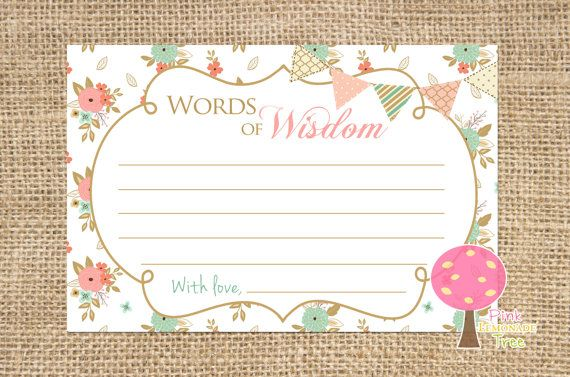 Shabby Chic Words Of Wisdom Cards For Baby Shower Peach And Mint