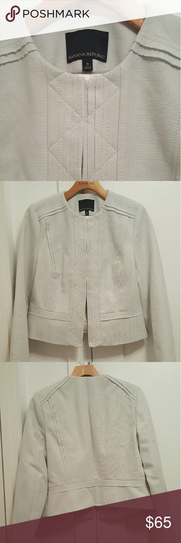 Banana Republic Jacket Light blue grey blazer, hook closure, never worn, size 8, purchased in the spring of this year. Perfect condition. Banana Republic Jackets & Coats Blazers