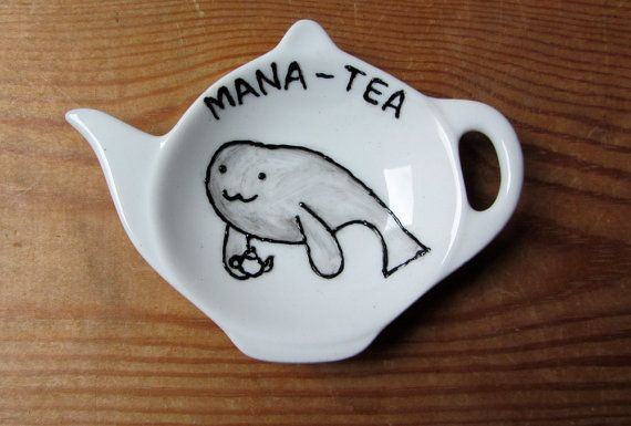 Manatea Tea Bag Tidy  Manatee  Spoon Rest by GallonsOfInk on Etsy