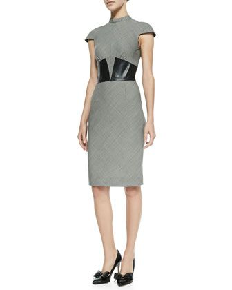lagence suit dress with leather corset  womens dress