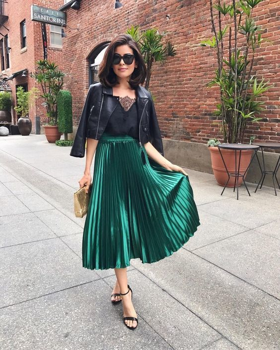 New green metallic pleated high waist skirt midi length metalic autumn fall